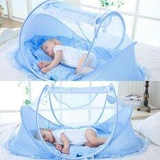 แบบพกพาเด็กทารก 0-3 ปีผ้าปูที่นอนยุงสุทธิเตียงพับที่นอนนอนเตียงเปลหมอน setat ชุด - นานาชาติ