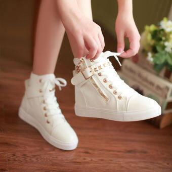 ฤดูใบไม้ผลิและฤดูใบไม้ร่วงสไตล์เกาหลีหุ้มข้อสูงหญิงเด็กโตรองเท้าผ้าใบสีขาวรองเท้าลำลอง 11 เด็กผู้หญิงกีฟารองเท้าสนึกเกอร์ 12 ปีรองเท้านักเรียน-