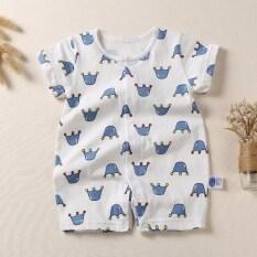 ราคา ผ้าฝ้ายฤดูร้อนแขนสั้นส่วนบางชุดนอนเด็กทารกชุดรัดรูป ถูก