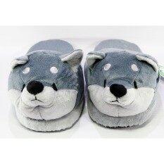 รองเท้าใส่ในบ้านพื้นหนา หน้าหมี (สีเทา).