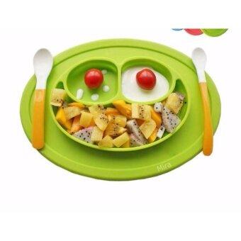จานซิลิโคนดูดโต๊ะ จานซิลิโคนสำหรับเด็กฝีกทานข้าว จานซิลิโคนสำหรับเด็กฝีกหยิบอาหาร จานซิลิโคนเสริมพัฒนาการ จานซิลิโคนรุ่นขายดี สีเขียวมะนาว