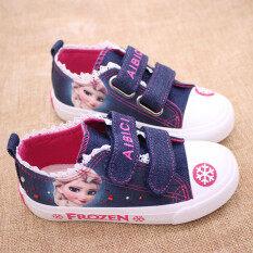 ซื้อ น้ำแข็งและหิมะรองเท้าผ้าใบการ์ตูนรองเท้าเด็กขอบลูกไม้สี ถูก