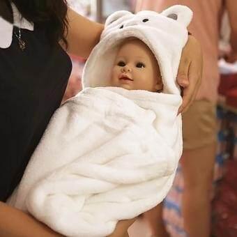 ผ้าห่ม ผ้าห่อตัวทารก แบบมีฮู้ดในตัว ผ้านุ่มสุดๆ (สีขาว)