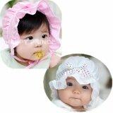 หมวกเด็กอ่อน เจ้าหญิงน้อย คาดโบว์จุด มีระบายบังแดด สีขาว ชมพู เป็นต้นฉบับ