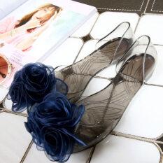 ส่วนลด ดอกสามชายหาดซิลิโคนหัวปลาคริสตัลรองเท้าแบนรองเท้าแตะ Other ใน ฮ่องกง
