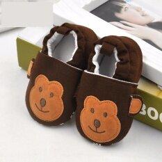 ขาย ซื้อ รองเท้าเด็ก รองเท้าเด็กแรกเกิด ลายลิงสีน้ำตาลเข้ม ใน กรุงเทพมหานคร