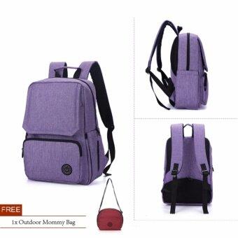 Lekebaby Multiple Pockets High Capacity Diaper Backpack Bag (Purple)