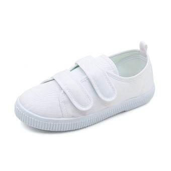 นักเรียนเด็กสีขาวรองเท้าชายและหญิงรองเท้าผ้าใบสีขาวพื้นรองเท้าอ่อน Petpet เล็กกลางรองเท้าสีขาวการแสดงรองเท้าครอบครัวขาวบริสุทธิ์รองเท้าเต้นรำ