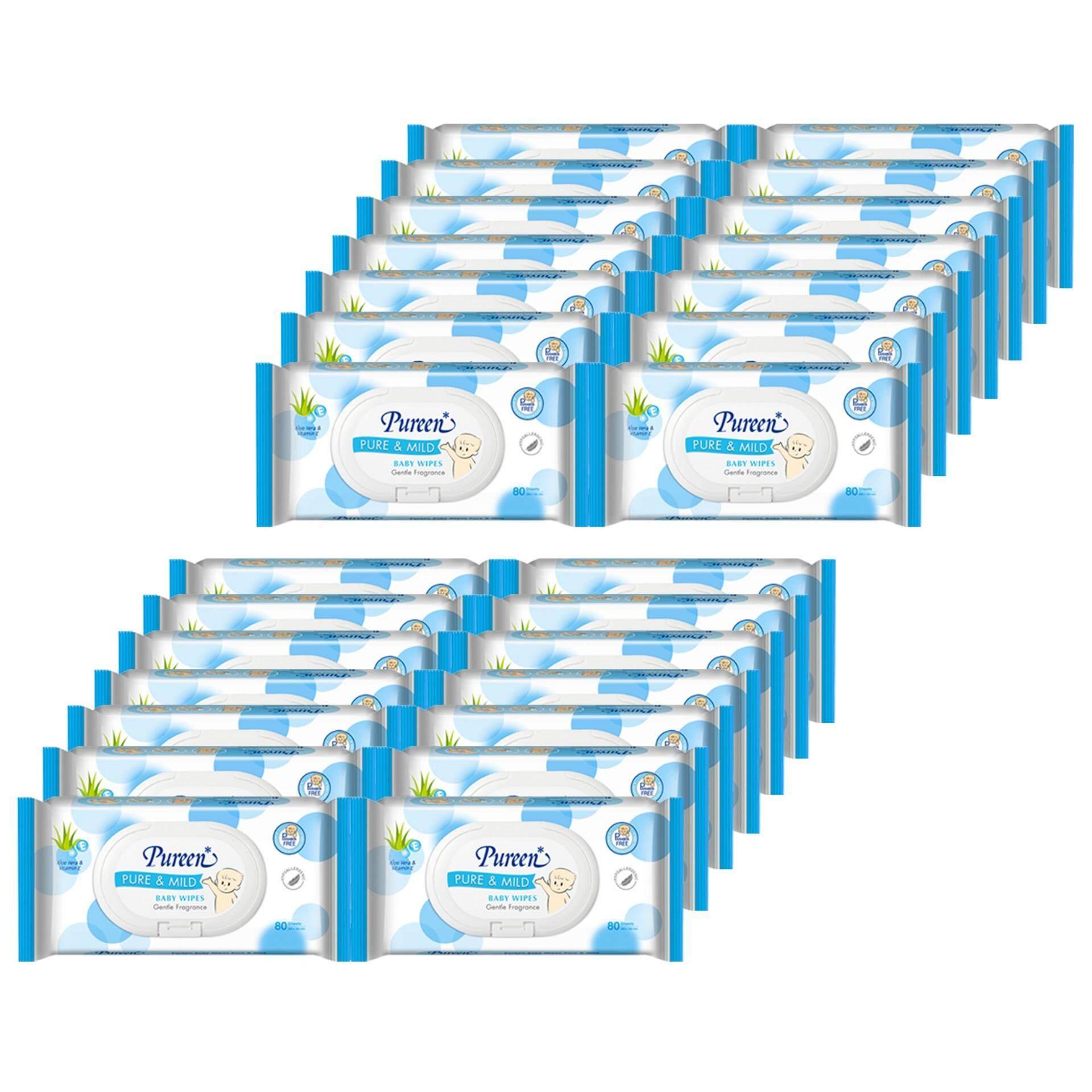 แนะนำ ส่งฟรี Pureen Baby Wipes กระดาษเปียกพิวรีน รุ่น Pure & Mild ขนาด 80 แผ่น (24 แพ็ค รวม 1920 แผ่น)