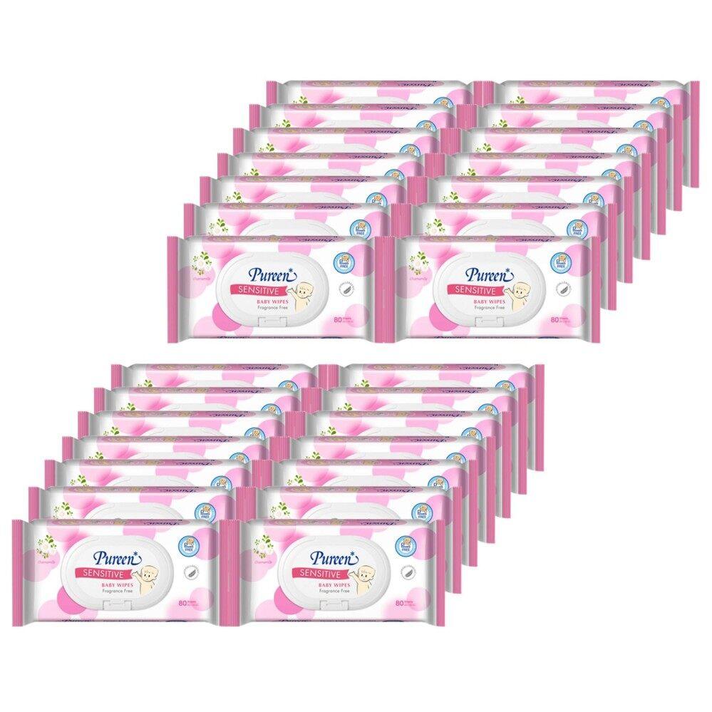ส่งฟรี Pureen Baby Wipes กระดาษเปียกพิวรีน รุ่น Sensitive ขนาด 80 แผ่น (24 แพ็ค รวม 1920 แผ่น)