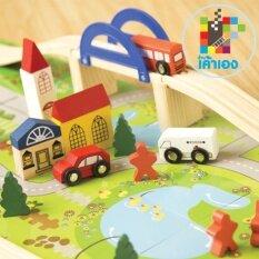ซื้อ ของเล่นไม้ บล็อกไม้ชุดสร้างเมือง Rail Overpass เมืองจำลอง Rankaoeang ถูก