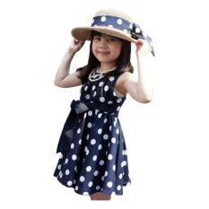 ราคา Rorychen Korean Style Baby Kids G*rl Polka Dot Dress For Summer Blue ใหม่ล่าสุด