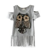 ราคา Sequins Owl Kids Girls T Shirt Short Sleeve Children T Shirts For G*rl Top Clothes Clothing Summer Grey Intl เป็นต้นฉบับ