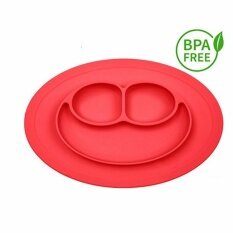 ขาย ซื้อ จานซิลิโคน Silicone Placemat Plate Dish Food Table Mat For Baby แดง