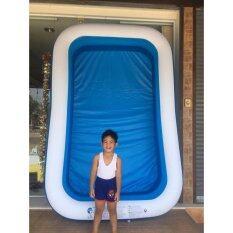 ซื้อ สระน้ำเป่าลมสีเหลี่ยมขนาด 262X175X50Cm สีฟ้า ขาว ออนไลน์