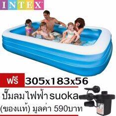ขาย สระว่ายน้ำเด็ก ขนาด 3 เมตร ลึก 56 ซม Intex ของแท้ สีฟ้าขาว Intex ถูก