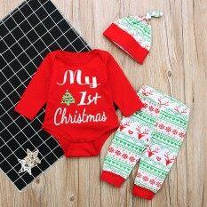 Ss 3 ชิ้น/เซ็ตทารกแรกเกิดแขนยาวสไตล์คริสต์มาส Jumpsuits ฤดูหนาวชุดเด็กภาพถ่าย Props สี: สีแดง Cc01160 ขนาด: 80 - นานาชาติ.