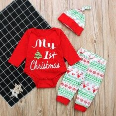 Ss 3pcs/set Newborn Baby Long Sleeve Christmas Style Jumpsuits Winter Kids Costumes Photo Props Color:red Cc01160 Size:90 - Intl.