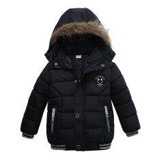 Ss เด็กแจ็คเก็ตอุ่นหน้าหนาวหนาเสื้อคลุมซิปมีฮู้ดแฟชั่นเสื้อกันหนาวสี: สีดำขนาด: 100 เซนติเมตร - Intl.