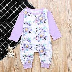 Ss เด็กทารกหญิงแรกเกิดแขนยาวสีม่วงอ่อนดอกไม้รูปแบบ Jumpsuits ฤดูหนาวชุดเด็ก Photo Props สี: สีม่วงอ่อน Cc01151 ขนาด: 90 - Intl.