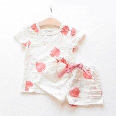 ราคา Summer Baby G*rl Cute Short Sleeve T Shirt Shorts Suit Pink Intl ใหม่