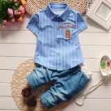 ราคา Summer Boys Short Sleeve Stripe Shirt Jeans Short Pants Set Infant Children S Clothing Intl ใน จีน