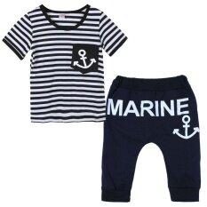 ฤดูร้อนเสื้อผ้าชุดกางเกงเด็ก + ชุดชั้นนำลาย Navy (130).