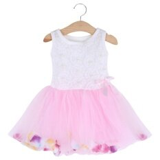 ส่วนลด Sweet Round Collar Sleeveless Colorful Petals Baby Girls Gauze Vest Dress Age10 Intl จีน