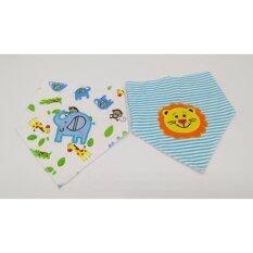 ซื้อ Tangmo Kid ผ้ากันเปื้อนสามเหลี่ยมผ้านุ่ม แพ็ค 2 ผืน ปักลายช้างและสิงโต Tangmo Kid ออนไลน์