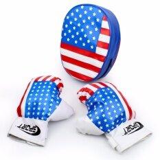 Telecorsa นวมชกมวยพร้อมเป้าล่อสำหรับเด็กลายธงชาติ รุ่น BoxingKid