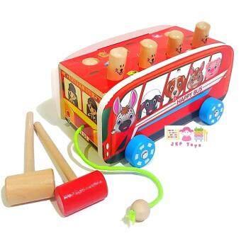 ToddsKids Toys ของเล่นไม้เสริมพัฒนาการ รถลาก+ทุบตุ่น ผลุบโผล่ ฝึกกล้ามเนื้อมือเเละสายตา