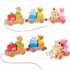 Todds & Kids Toys ของเล่นไม้เสริมพัฒนาการ บล๊อคไม้รถไฟสวมหลัก 3 ขบวน ลายสัตว์ฟาร์ม เล่นลากจูงได้.