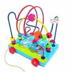 Todds & Kids Toys ของเล่นเสริมพัฒนาการ ของเล่นของเล่นไม้ชุดขดลวดฝึกสมาธิพร้อมล้อลากจูงสำหรับหัดเดิน (สีฟ้า).
