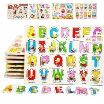 ToddsKids Toys ของเล่นเสริมพัฒนาการ เซทหมุดไม้ รวมจิ๊กซอว์เสริมความรู้ 8 เเผ่น (ภาษาไทย-อังกฤษ ตัวเลขเเละสัตว์ต่างๆ)