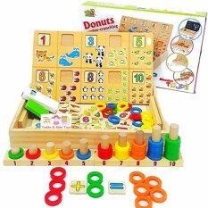 Todds Kids Toys ของเล่นไม้เสริมพัฒนาการ กล่องไม้สอนนับเลขพร้อมกระดาน ห่วงสวมหลัก เป็นต้นฉบับ