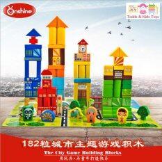 Todds Kids Toys ของเล่นไม้ บล็อคไม้สร้างเมือง 182 ชิ้น เป็นต้นฉบับ