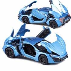 โปรโมชั่น ของเล่นเกมส์ยานพาหนะตาย Cast มาใหม่ 1 32 รวดเร็ว Furious 7 Lykan Hypersport Diecast รถรุ่นด้วยแสง ประตูเปิด น้ำเงิน นานาชาติ จีน