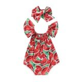 ขาย Two Pieces Baby G*rl S Watermelon Printing A Word Shoulder Jumpsuit Red Intl Unbranded Generic