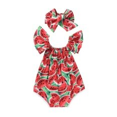 ราคา Two Pieces Baby G*rl S Watermelon Printing A Word Shoulder Jumpsuit Red Intl ใน จีน