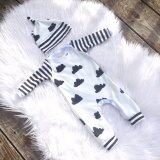 ส่วนลด สินค้า Ustore Cute Newborn Baby Kids Girls White Flaky Clouds Stripe Long Sleeve Romper Hat Intl