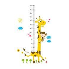 Velishy เด็กแผนภูมิความสูงวัดยีราฟสติกเกอร์ลิง.