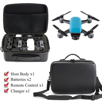 Waterproof Carrying Case Carbon Fiber Surface Pattern For DJI Spark RC Drone - intl