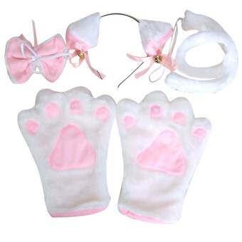 สีขาวชุดคอสเพลย์แมว PAW กรงเล็บถุงมือหู Hairclip หางโบว์เน็คไท - นานาชาติ-