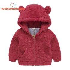 ฤดูหนาวสาวเด็กทารกขนแกะอบอุ่นเสื้อเด็กเสื้อแขนยาวมีฮู้ดซิปแจ็คเก็ต (สีแดง) - 3-4yrs - นานาชาติ.