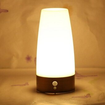 Wireless Motion Sensor Night Light Bedroom Battery Powered LED Table Lamp - intl