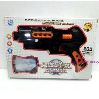Worktoys ปืน Crystal Fighter ปืนสั้นอัดลม กระสุนโฟม-กระสุนน้ำ มีไฟ และอินฟาเรด (สีดำ)