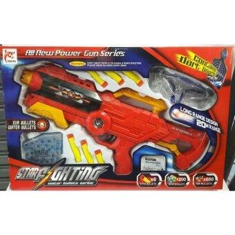Worktoys ปืน ปืนสั้นอัดลมกระสุนโฟมยาง กระสุนน้ำ EVA BULLETS WATER BULLETS (2 IN 1) สีแดง
