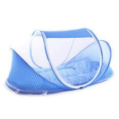 Ybc สามารถพับเก็บได้อ่อนนุ่มมุ้งกันยุงเตียงนอนพร้อมหมอน Setat น้ำเงิน - นานาชาติ.