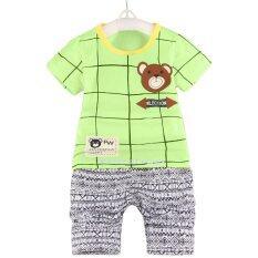 Yeeshop ชุดเสื้อผ้าเด็กเข้าชุด ลายตารางหมี สีเขียว 100 3Years เป็นต้นฉบับ