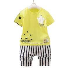 Yeeshop ชุดเสื้อผ้าเด็กเข้าชุด ลายดาว สีเหลือง 110 3Years เป็นต้นฉบับ